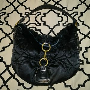 UGC Coach Rabbit Fur Satin Quilted & Leather Hobo